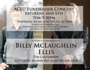 ACLU Benefit Concert - Mahtomedi MN @ White Bear Unitarian Universalist Church (WBUUC) | Saint Paul | Minnesota | United States