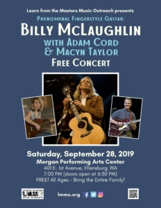 Billy McLaughlin, Adam Cord, & Macyn Taylor - live in concert FREE (sponsored by LMMO) - Ellensburg WA @ Morgan Performing Arts Center | Ellensburg | Washington | United States